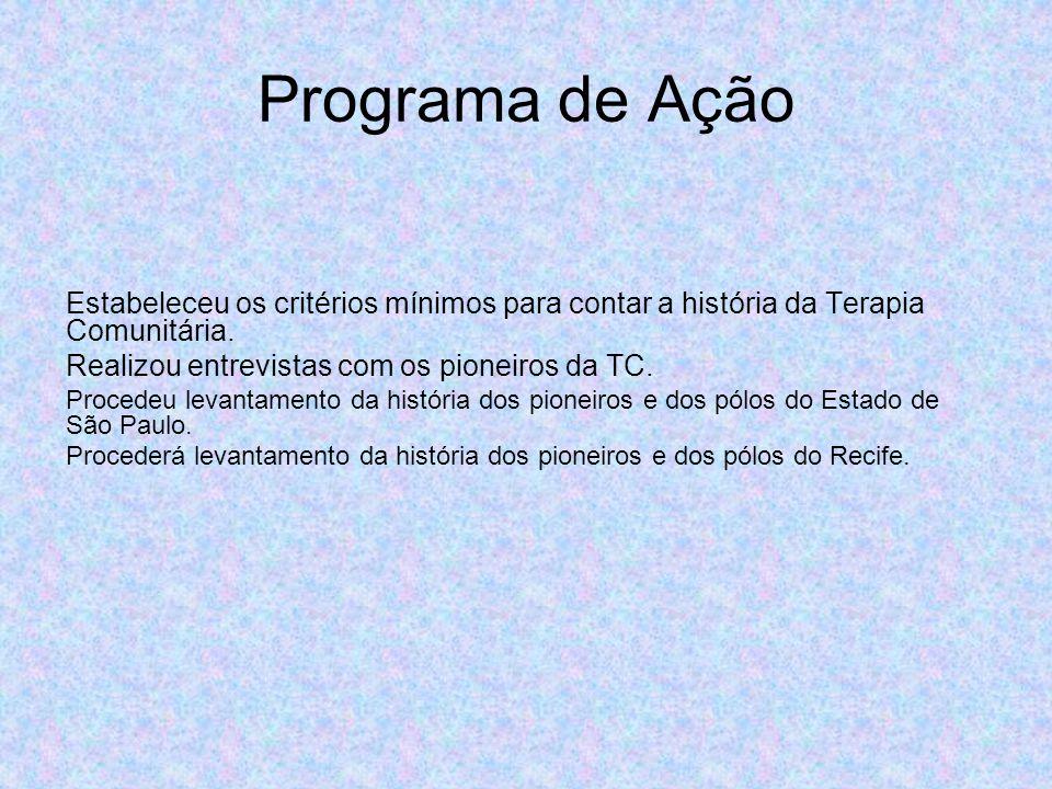 Programa de Ação Estabeleceu os critérios mínimos para contar a história da Terapia Comunitária.
