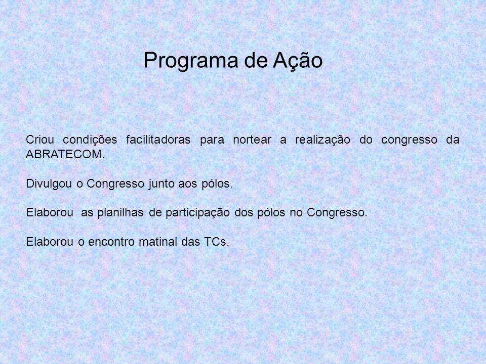 Programa de Ação Criou condições facilitadoras para nortear a realização do congresso da ABRATECOM. Divulgou o Congresso junto aos pólos. Elaborou as
