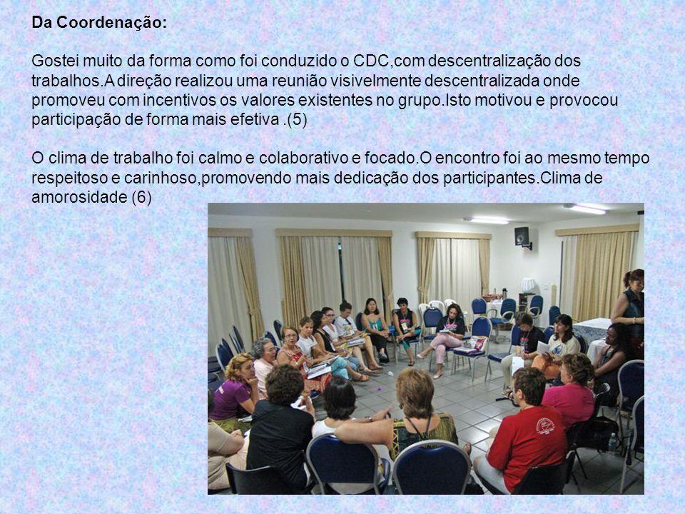 Da Coordenação: Gostei muito da forma como foi conduzido o CDC,com descentralização dos trabalhos.A direção realizou uma reunião visivelmente descentr