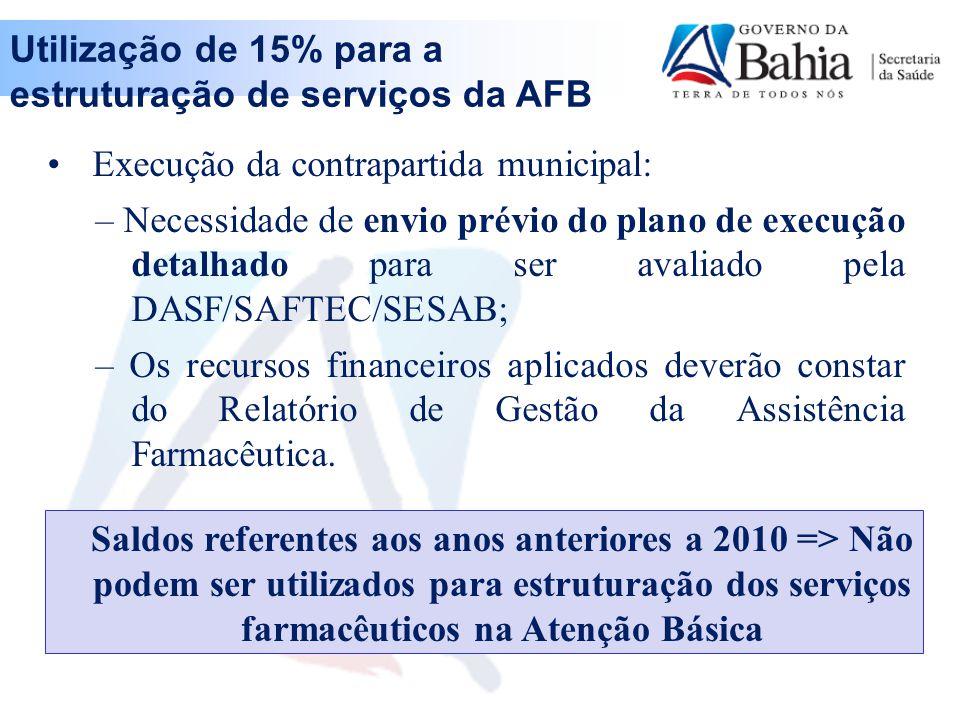 Execução da contrapartida municipal: – Necessidade de envio prévio do plano de execução detalhado para ser avaliado pela DASF/SAFTEC/SESAB; – Os recursos financeiros aplicados deverão constar do Relatório de Gestão da Assistência Farmacêutica.