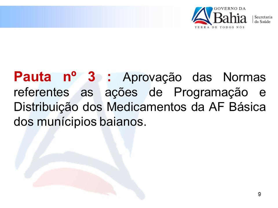 9 Pauta nº 3 : Aprovação das Normas referentes as ações de Programação e Distribuição dos Medicamentos da AF Básica dos munícipios baianos.