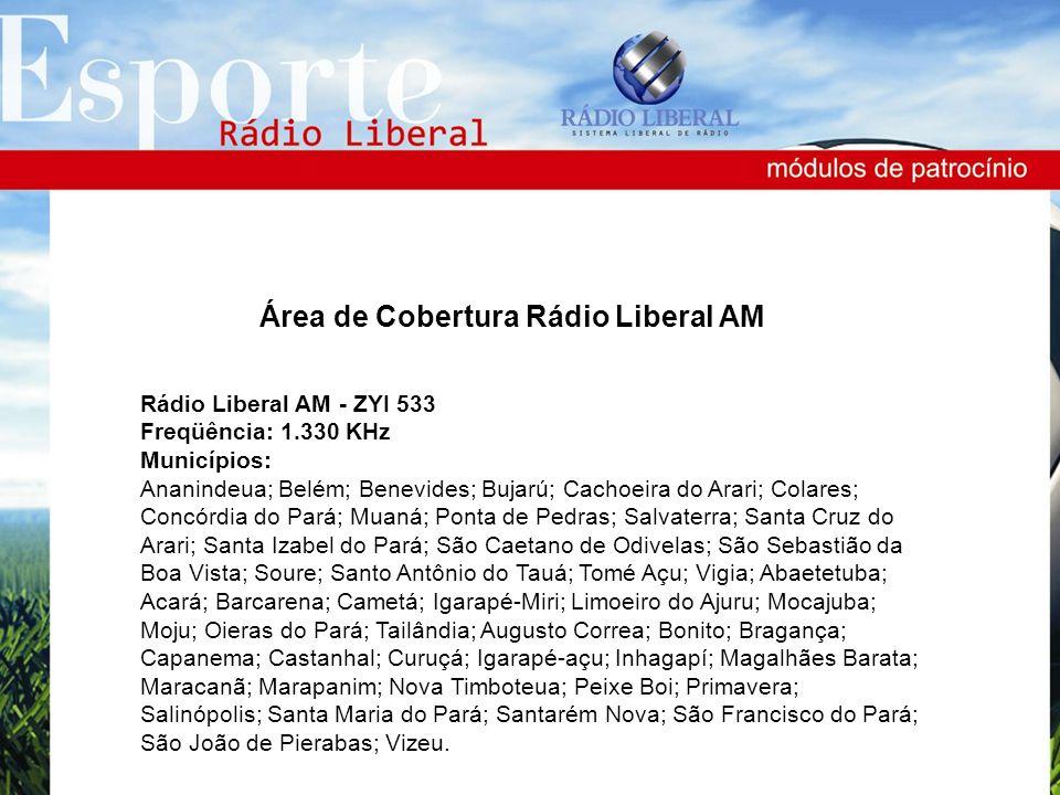 Rádio Liberal AM - ZYI 533 Freqüência: 1.330 KHz Municípios: Ananindeua; Belém; Benevides; Bujarú; Cachoeira do Arari; Colares; Concórdia do Pará; Mua