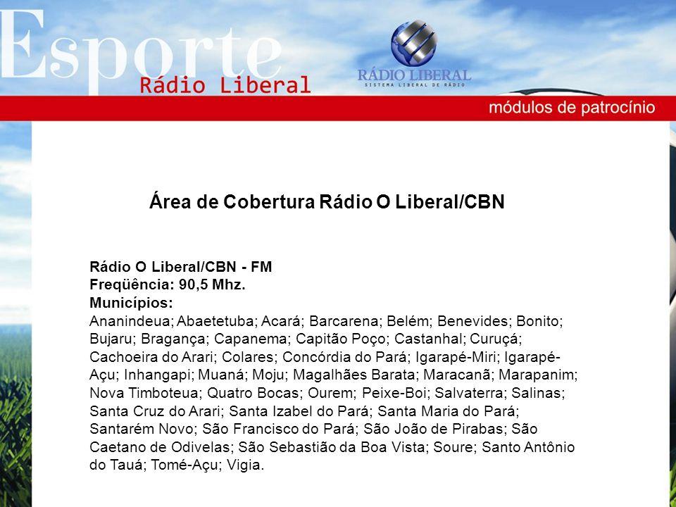 Rádio O Liberal/CBN - FM Freqüência: 90,5 Mhz. Municípios: Ananindeua; Abaetetuba; Acará; Barcarena; Belém; Benevides; Bonito; Bujaru; Bragança; Capan