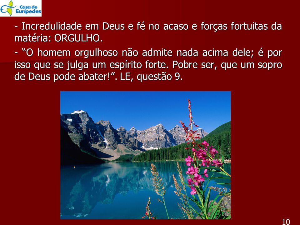 - Incredulidade em Deus e fé no acaso e forças fortuitas da matéria: ORGULHO.