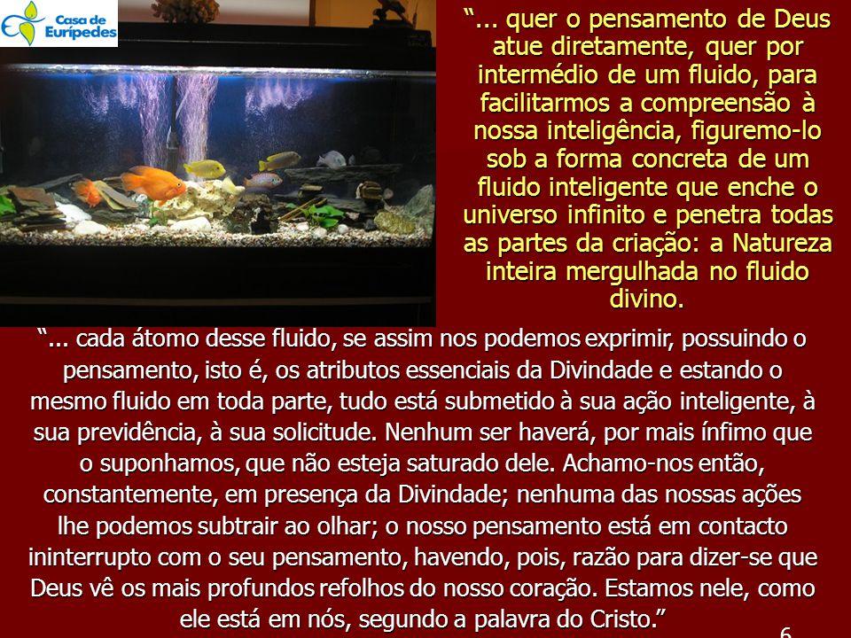 """""""... quer o pensamento de Deus atue diretamente, quer por intermédio de um fluido, para facilitarmos a compreensão à nossa inteligência, figuremo-lo s"""
