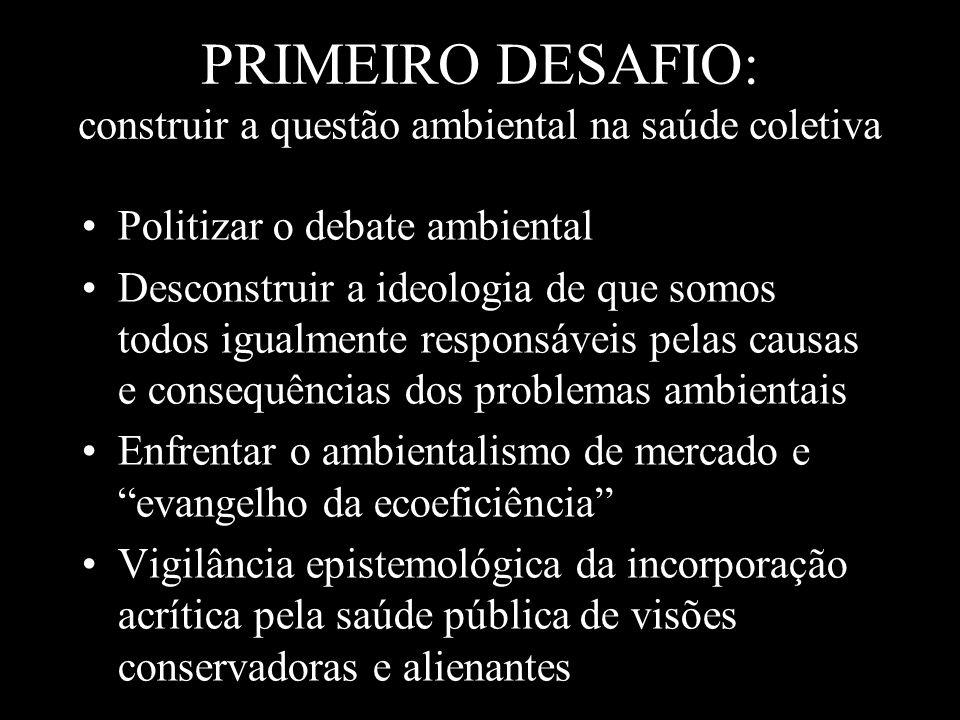PRIMEIRO DESAFIO: construir a questão ambiental na saúde coletiva Politizar o debate ambiental Desconstruir a ideologia de que somos todos igualmente