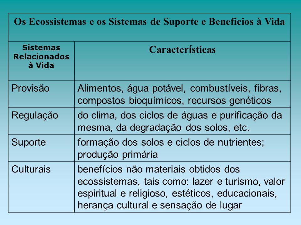 Os Ecossistemas e os Sistemas de Suporte e Benefícios à Vida Sistemas Relacionados à Vida Caracter í sticas ProvisãoAlimentos, água potável, combustív
