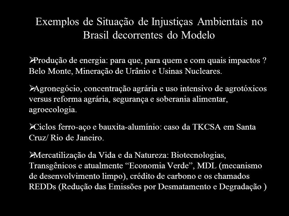 Exemplos de Situação de Injustiças Ambientais no Brasil decorrentes do Modelo  Produção de energia: para que, para quem e com quais impactos ? Belo M