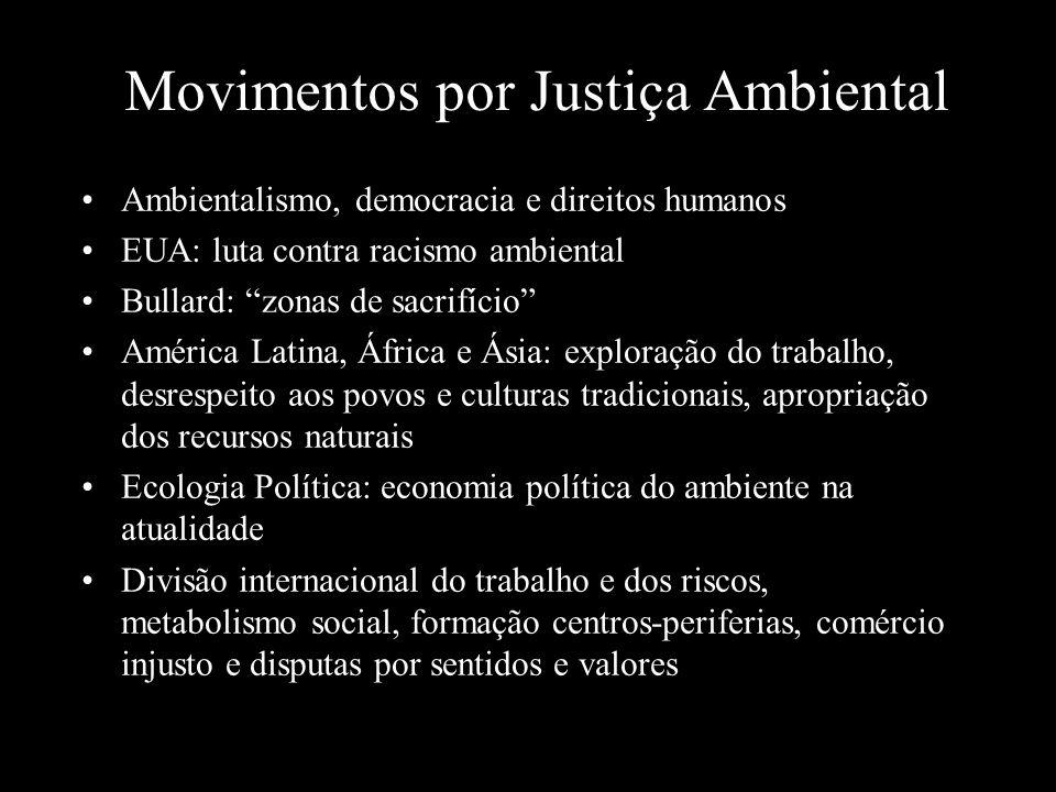 """Movimentos por Justiça Ambiental Ambientalismo, democracia e direitos humanos EUA: luta contra racismo ambiental Bullard: """"zonas de sacrifício"""" Améric"""