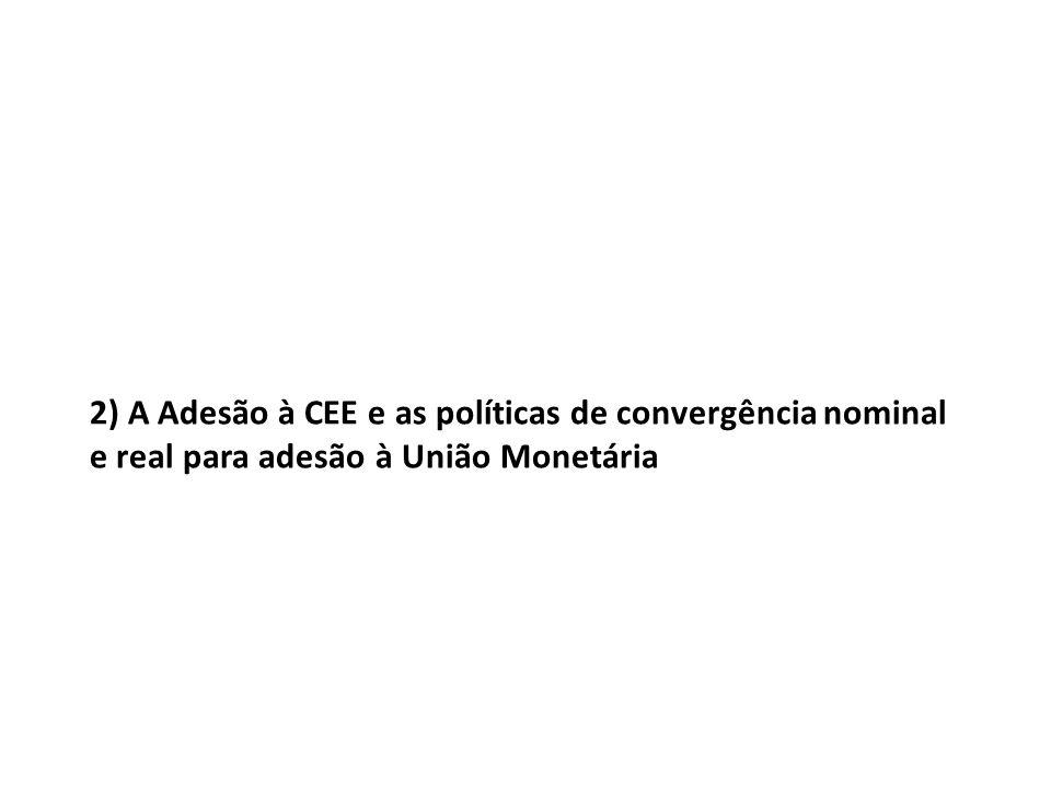 2) A Adesão à CEE e as políticas de convergência nominal e real para adesão à União Monetária