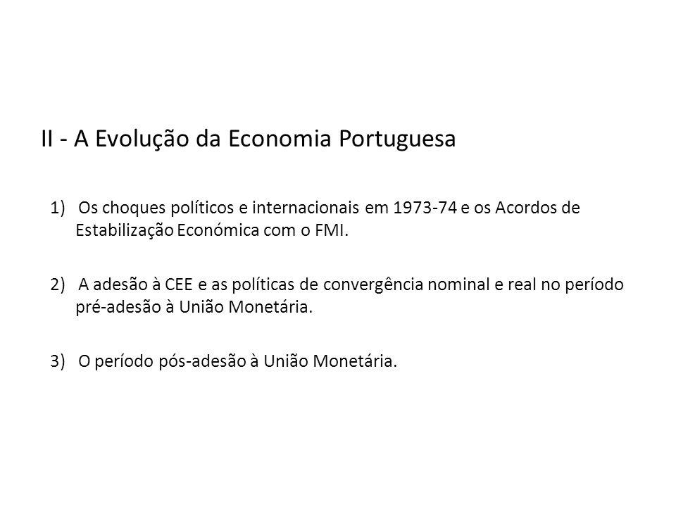 II - A Evolução da Economia Portuguesa 1) Os choques políticos e internacionais em 1973-74 e os Acordos de Estabilização Económica com o FMI.