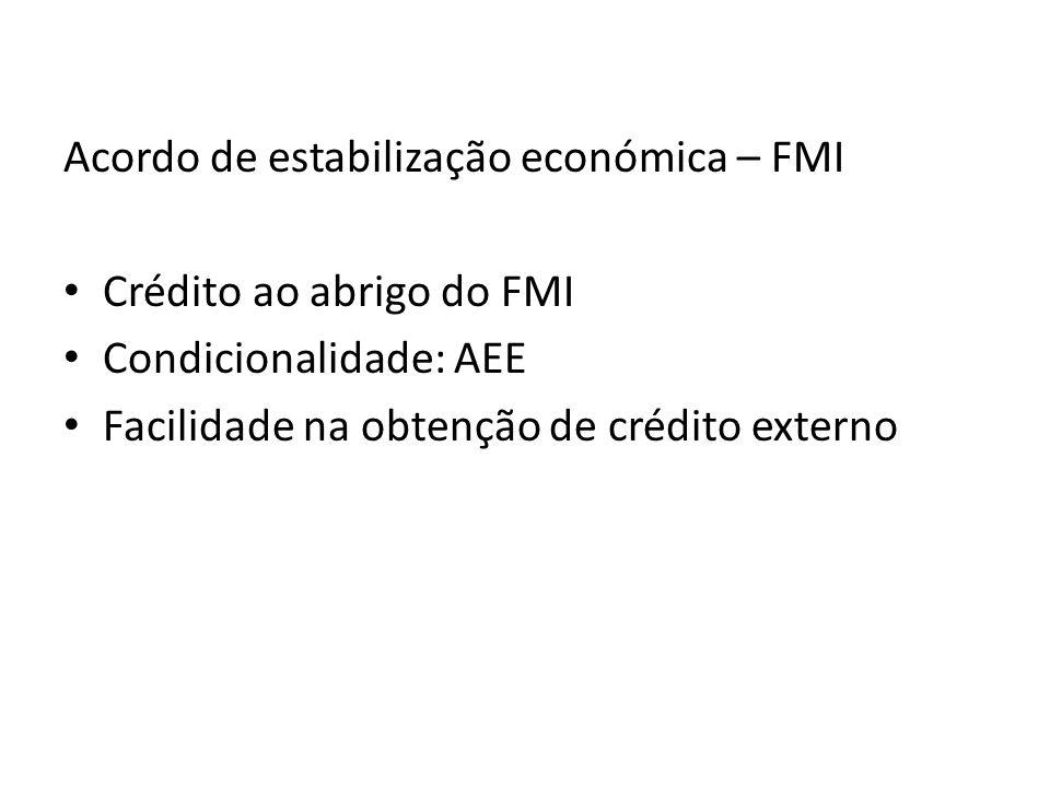 Acordo de estabilização económica – FMI Crédito ao abrigo do FMI Condicionalidade: AEE Facilidade na obtenção de crédito externo