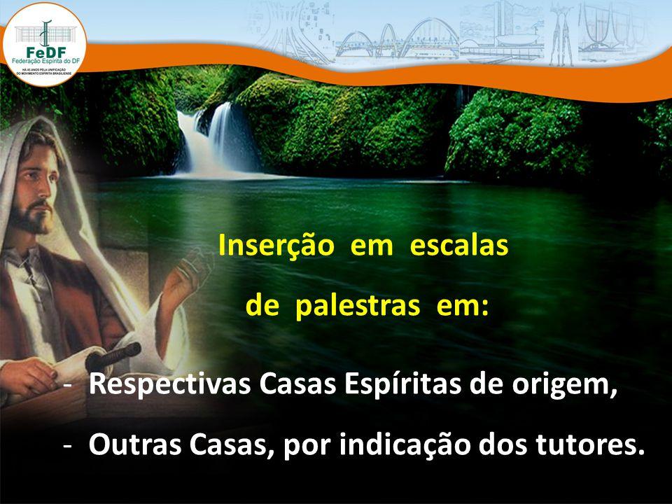 Inserção em escalas de palestras em: - Respectivas Casas Espíritas de origem, - Outras Casas, por indicação dos tutores.