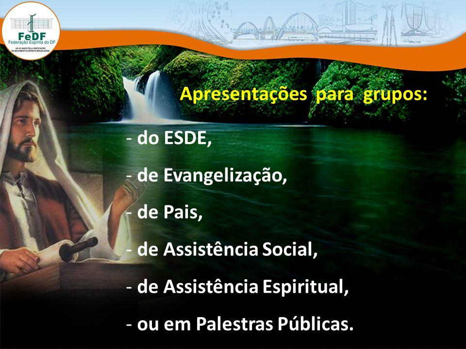 Apresentações para grupos: - do ESDE, - de Evangelização, - de Pais, - de Assistência Social, - de Assistência Espiritual, - ou em Palestras Públicas.