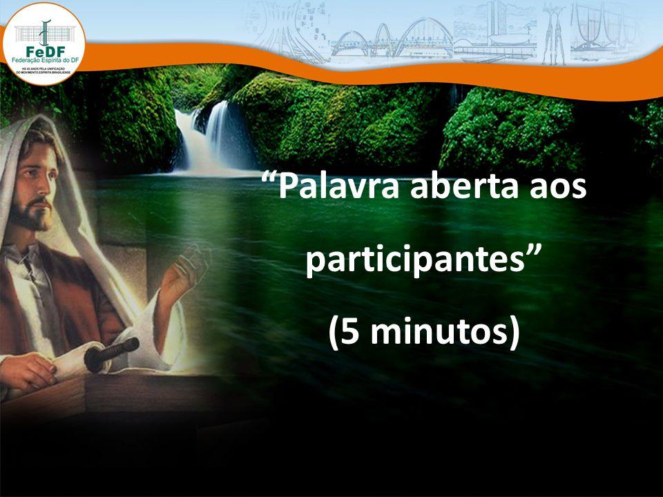 Palavra aberta aos participantes (5 minutos)