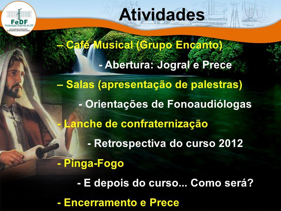 Atividades – Café Musical (Grupo Encanto) - Abertura: Jogral e Prece – Salas (apresentação de palestras) - Orientações de Fonoaudiólogas - Lanche de confraternização - Retrospectiva do curso 2012 - Pinga-Fogo - E depois do curso...