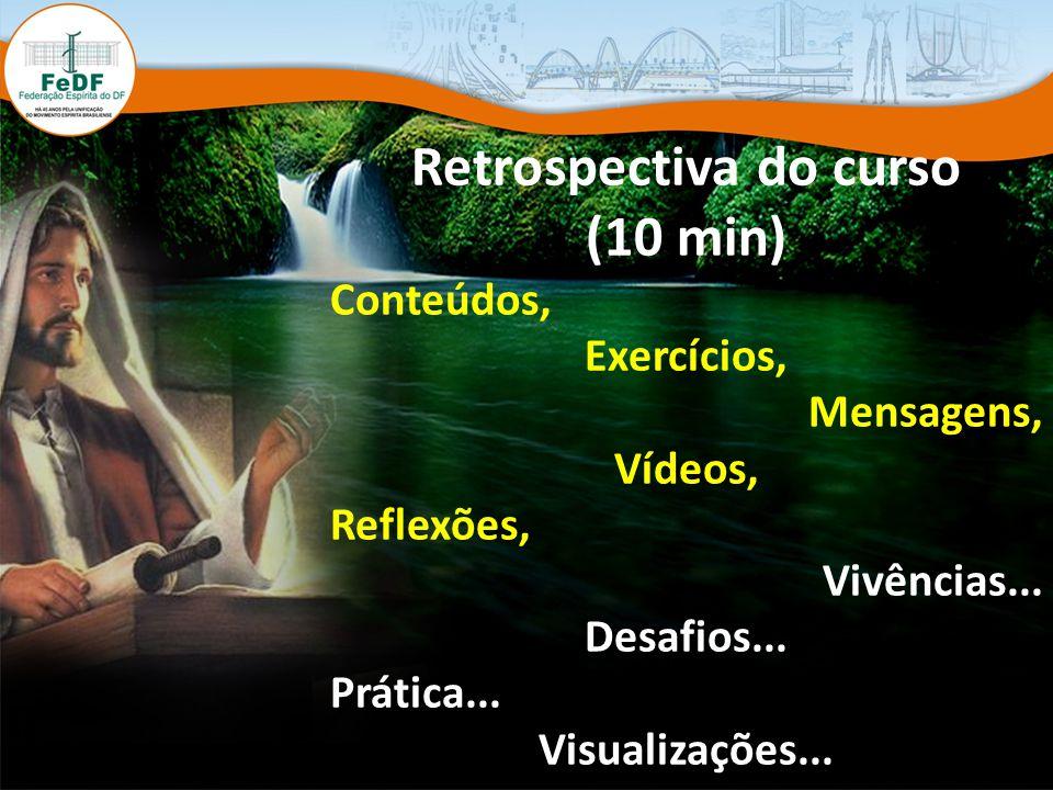 Retrospectiva do curso (10 min) Conteúdos, Exercícios, Mensagens, Vídeos, Reflexões, Vivências...