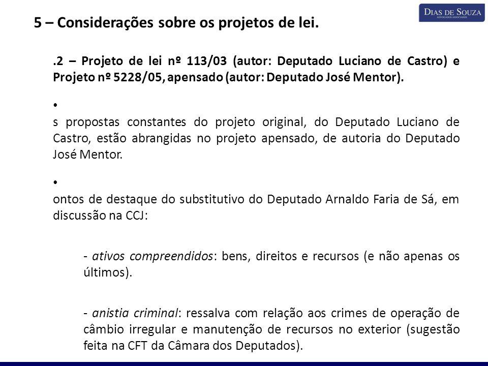 5 – Considerações sobre os projetos de lei. 5.2 – Projeto de lei nº 113/03 (autor: Deputado Luciano de Castro) e Projeto nº 5228/05, apensado (autor: