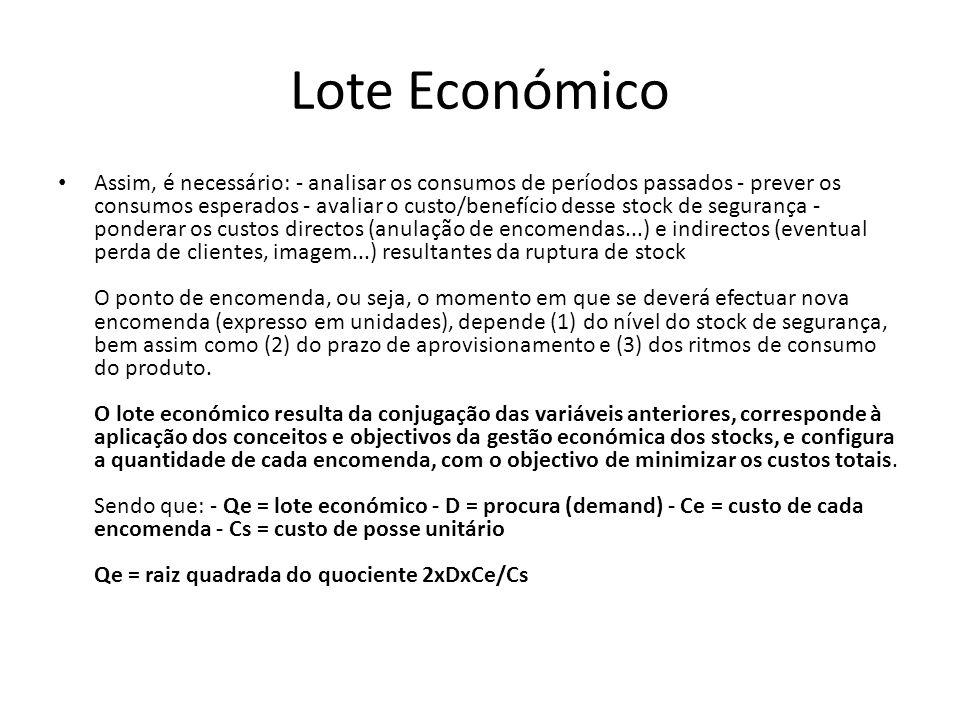 Lote Económico Assim, é necessário: - analisar os consumos de períodos passados - prever os consumos esperados - avaliar o custo/benefício desse stock