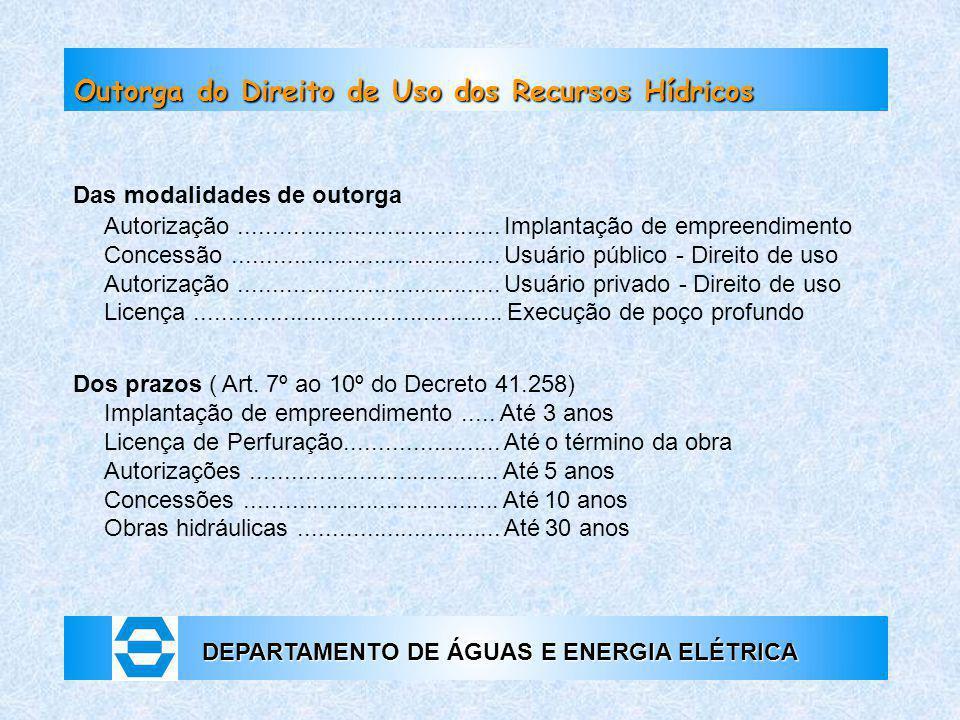 DEPARTAMENTO DE ÁGUAS E ENERGIA ELÉTRICA Outorga do Direito de Uso dos Recursos Hídricos Das modalidades de outorga Autorização.......................