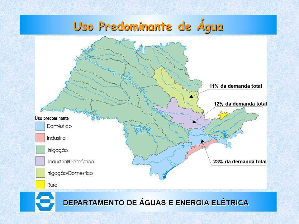 DEPARTAMENTO DE ÁGUAS E ENERGIA ELÉTRICA Uso Predominante de Água