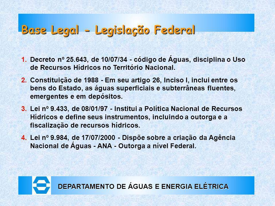 DEPARTAMENTO DE ÁGUAS E ENERGIA ELÉTRICA 1. Decreto nº 25.643, de 10/07/34 - código de Águas, disciplina o Uso de Recursos Hídricos no Território Naci