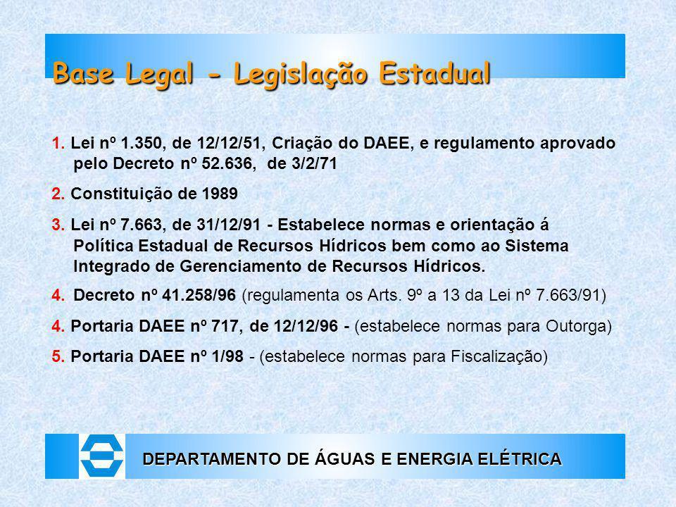 DEPARTAMENTO DE ÁGUAS E ENERGIA ELÉTRICA Base Legal - Legislação Estadual 1. Lei nº 1.350, de 12/12/51, Criação do DAEE, e regulamento aprovado pelo D