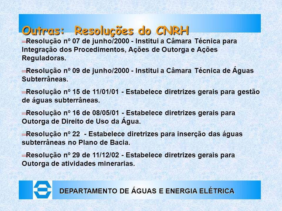 DEPARTAMENTO DE ÁGUAS E ENERGIA ELÉTRICA Outras: Resoluções do CNRH  Resolução nº 07 de junho/2000 - Institui a Câmara Técnica para Integração dos Pr