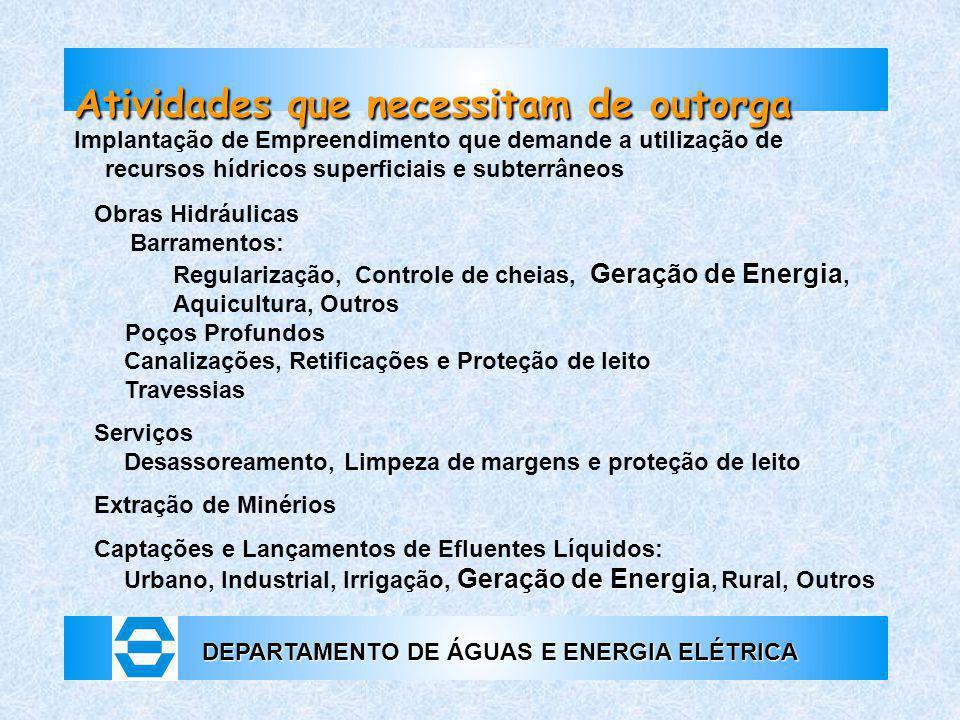 DEPARTAMENTO DE ÁGUAS E ENERGIA ELÉTRICA Atividades que necessitam de outorga Implantação de Empreendimento que demande a utilização de recursos hídri