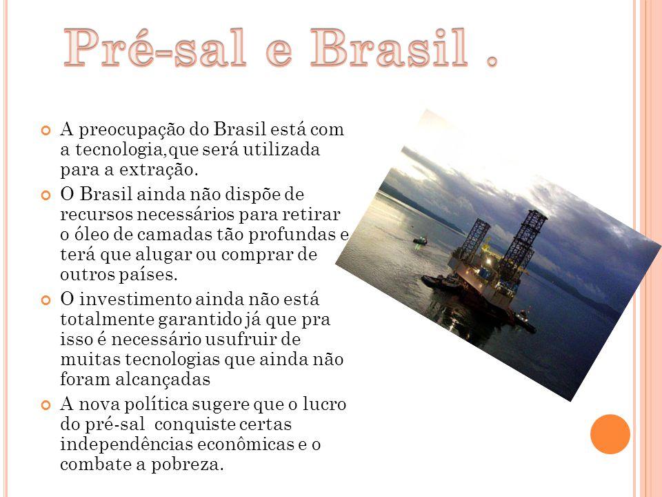 A preocupação do Brasil está com a tecnologia,que será utilizada para a extração. O Brasil ainda não dispõe de recursos necessários para retirar o óle