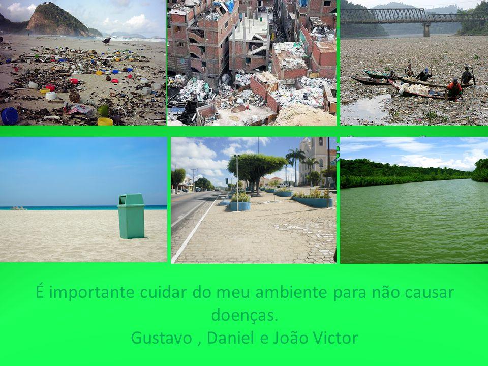 É importante cuidar do meu ambiente para não causar doenças. Gustavo, Daniel e João Victor