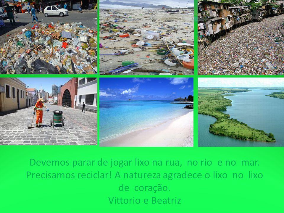 Devemos parar de jogar lixo na rua, no rio e no mar. Precisamos reciclar! A natureza agradece o lixo no lixo de coração. Vittorio e Beatriz