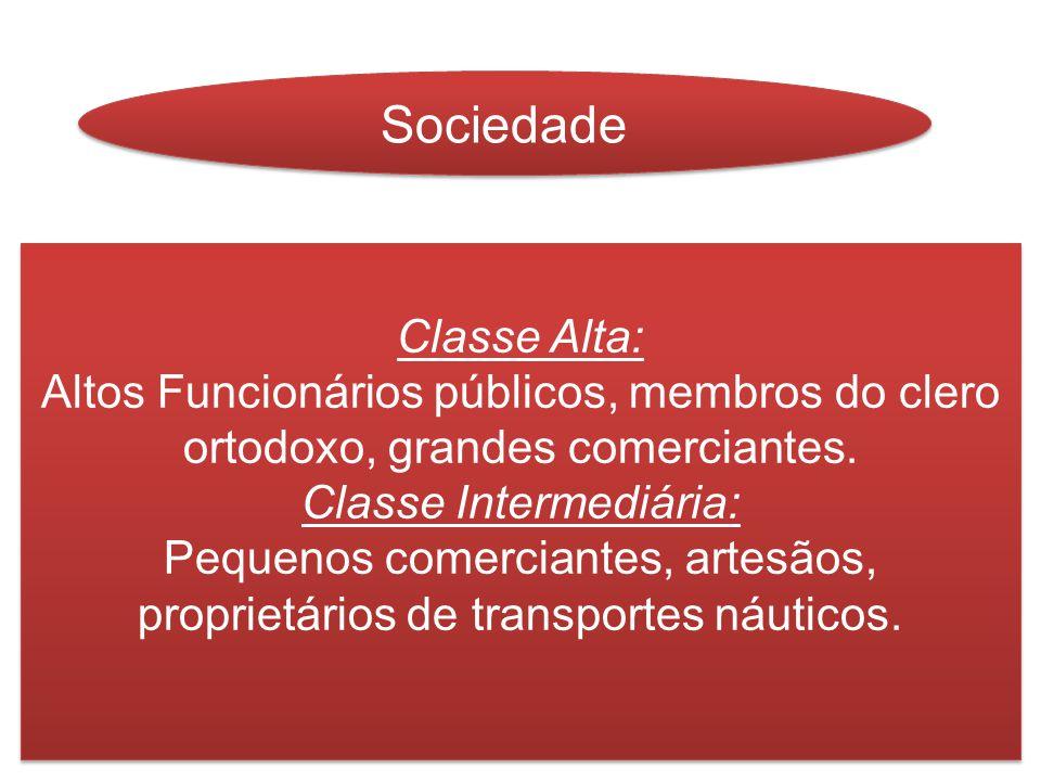 Sociedade Classe Alta: Altos Funcionários públicos, membros do clero ortodoxo, grandes comerciantes. Classe Intermediária: Pequenos comerciantes, arte