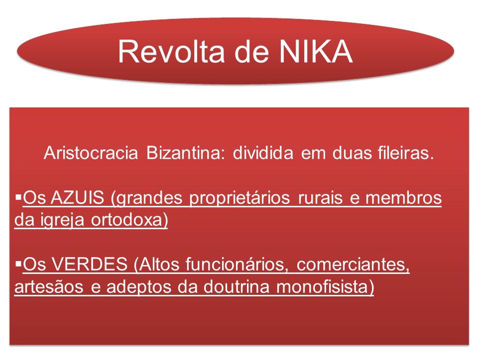 Revolta de NIKA Aristocracia Bizantina: dividida em duas fileiras.  Os AZUIS (grandes proprietários rurais e membros da igreja ortodoxa)  Os VERDES