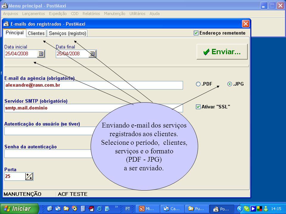 Enviando e-mail dos serviços registrados aos clientes. Selecione o período, clientes, serviços e o formato (PDF - JPG) a ser enviado.