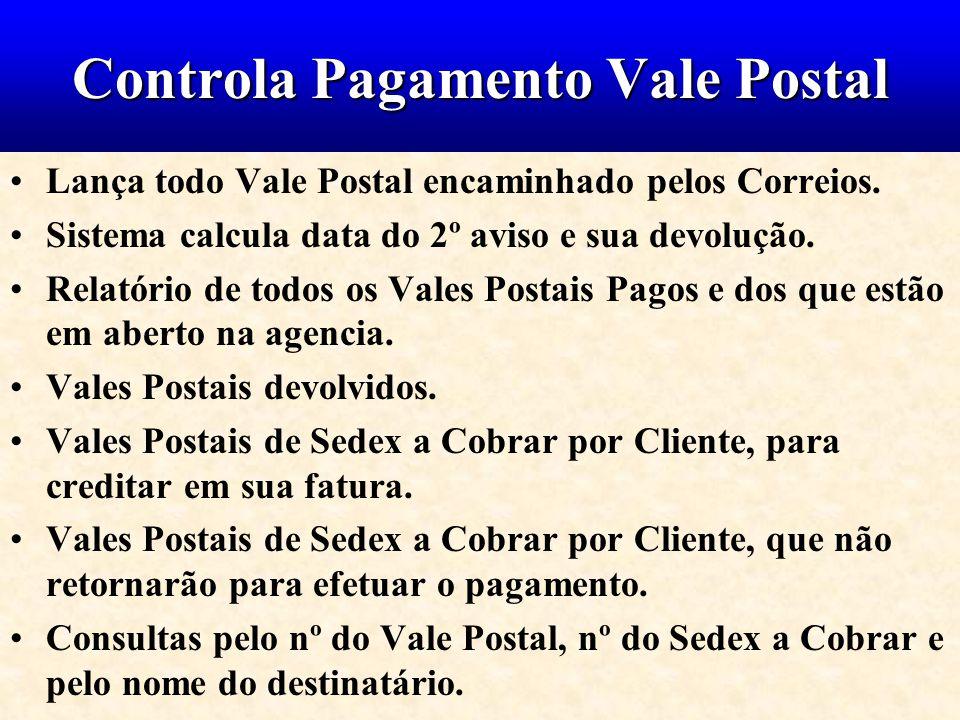 Controla Pagamento Vale Postal Lança todo Vale Postal encaminhado pelos Correios. Sistema calcula data do 2º aviso e sua devolução. Relatório de todos