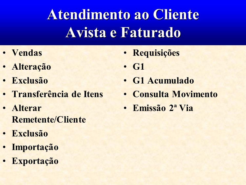 Atendimento ao Cliente Avista e Faturado Vendas Alteração Exclusão Transferência de Itens Alterar Remetente/Cliente Exclusão Importação Exportação Req