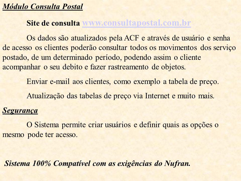 Módulo Consulta Postal Site de consulta www.consultapostal.com.br www.consultapostal.com.br Os dados são atualizados pela ACF e através de usuário e s