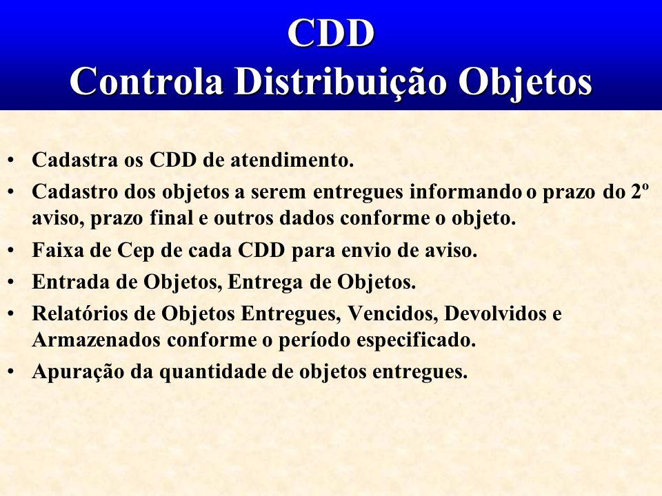 CDD Controla Distribuição Objetos Cadastra os CDD de atendimento. Cadastro dos objetos a serem entregues informando o prazo do 2º aviso, prazo final e