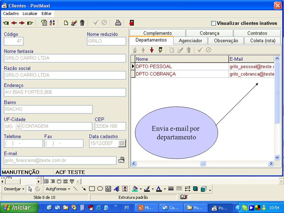 Envia e-mail por departamento