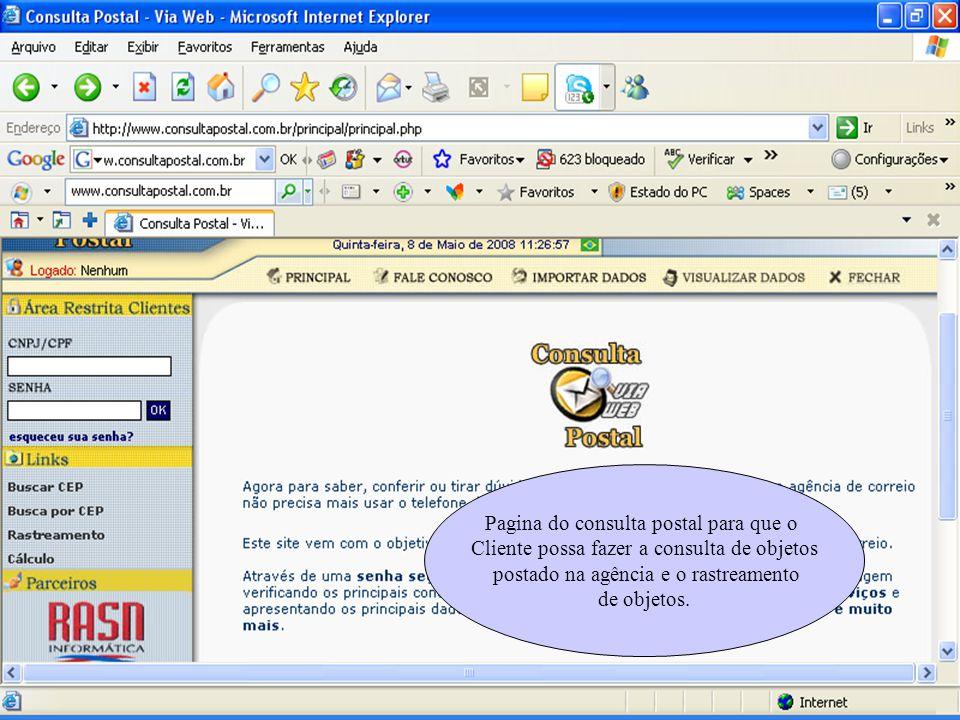 Pagina do consulta postal para que o Cliente possa fazer a consulta de objetos postado na agência e o rastreamento de objetos.
