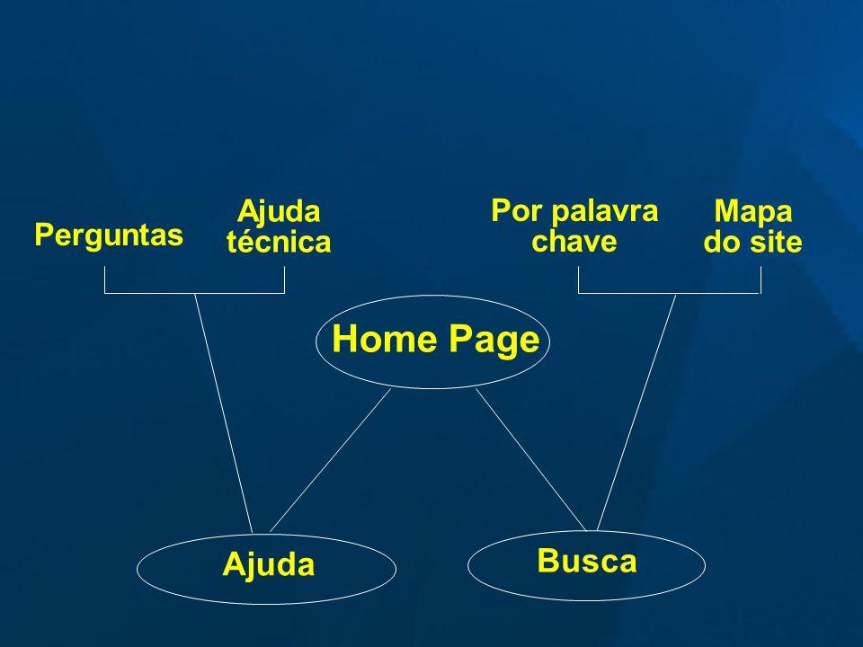 Home Page Busca Ajuda Mapa do site Por palavra chave Ajuda técnica Perguntas