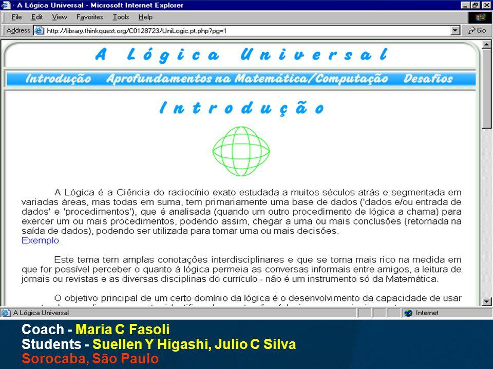 Coach - Maria C Fasoli Students - Suellen Y Higashi, Julio C Silva Sorocaba, São Paulo