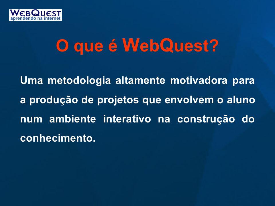 O que é W eb Q uest? Uma metodologia altamente motivadora para a produção de projetos que envolvem o aluno num ambiente interativo na construção do co