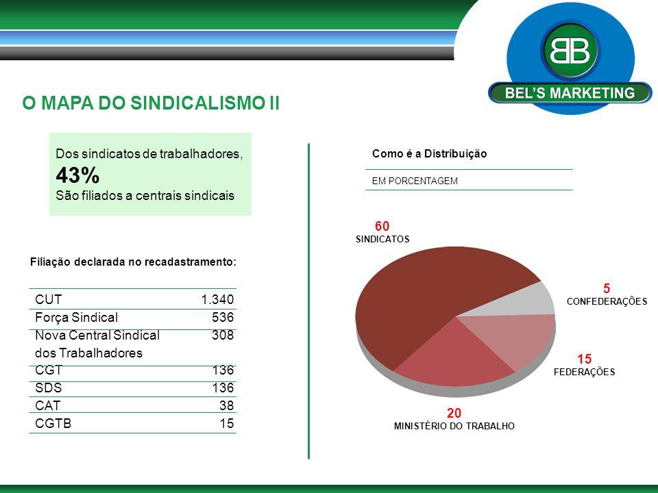 O MAPA DO SINDICALISMO II Dos sindicatos de trabalhadores, 43% São filiados a centrais sindicais Filiação declarada no recadastramento: CUT Força Sind