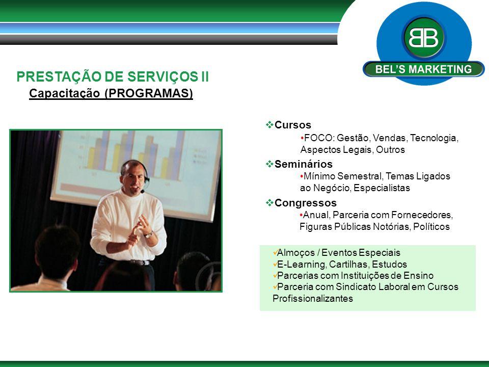 PRESTAÇÃO DE SERVIÇOS II Capacitação (PROGRAMAS)  Cursos  Seminários  Congressos FOCO: Gestão, Vendas, Tecnologia, Aspectos Legais, Outros Mínimo S