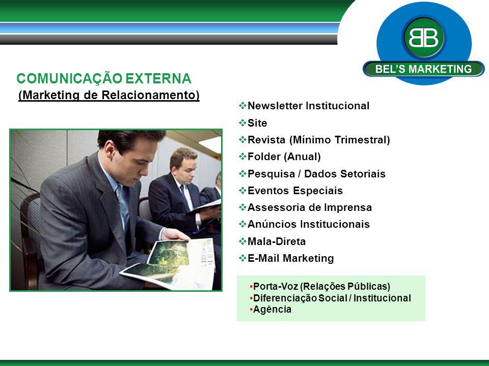 COMUNICAÇÃO EXTERNA (Marketing de Relacionamento)  Newsletter Institucional  Site  Revista (Mínimo Trimestral)  Folder (Anual)  Pesquisa / Dados