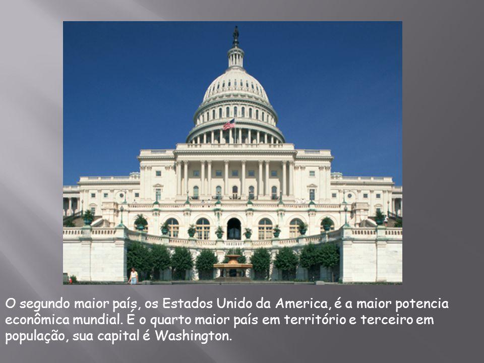 O segundo maior país, os Estados Unido da America, é a maior potencia econômica mundial. É o quarto maior país em território e terceiro em população,