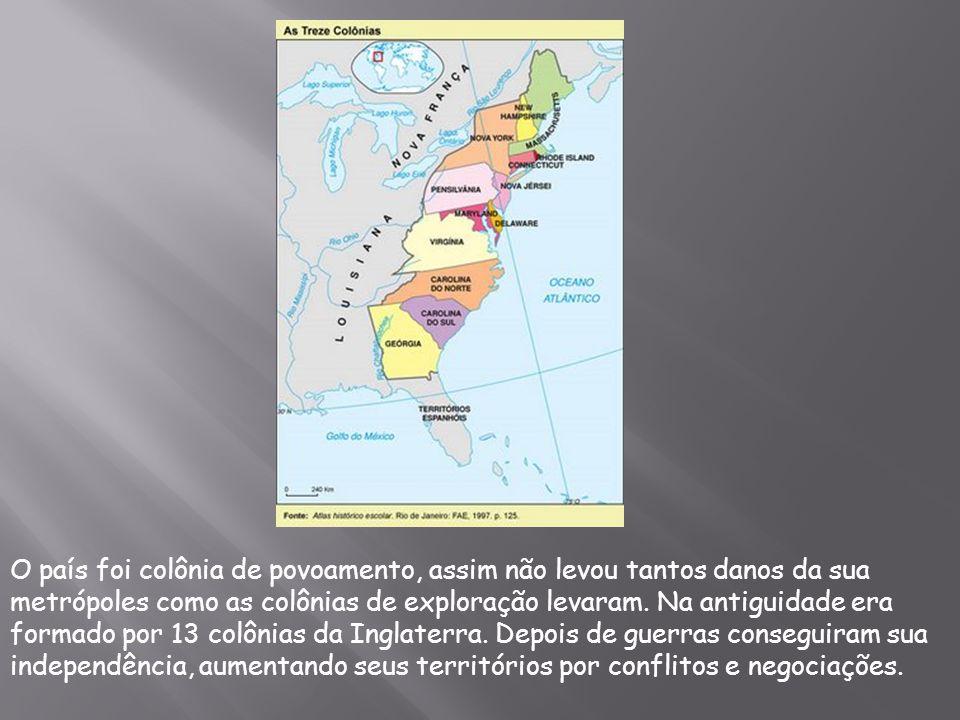 O país foi colônia de povoamento, assim não levou tantos danos da sua metrópoles como as colônias de exploração levaram. Na antiguidade era formado po