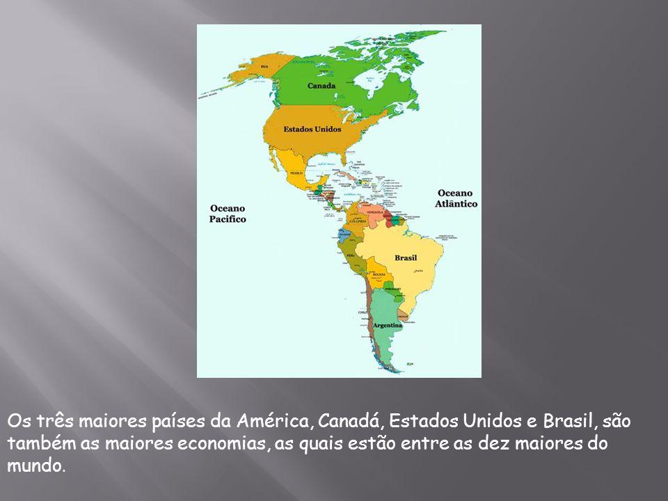 Os três maiores países da América, Canadá, Estados Unidos e Brasil, são também as maiores economias, as quais estão entre as dez maiores do mundo.